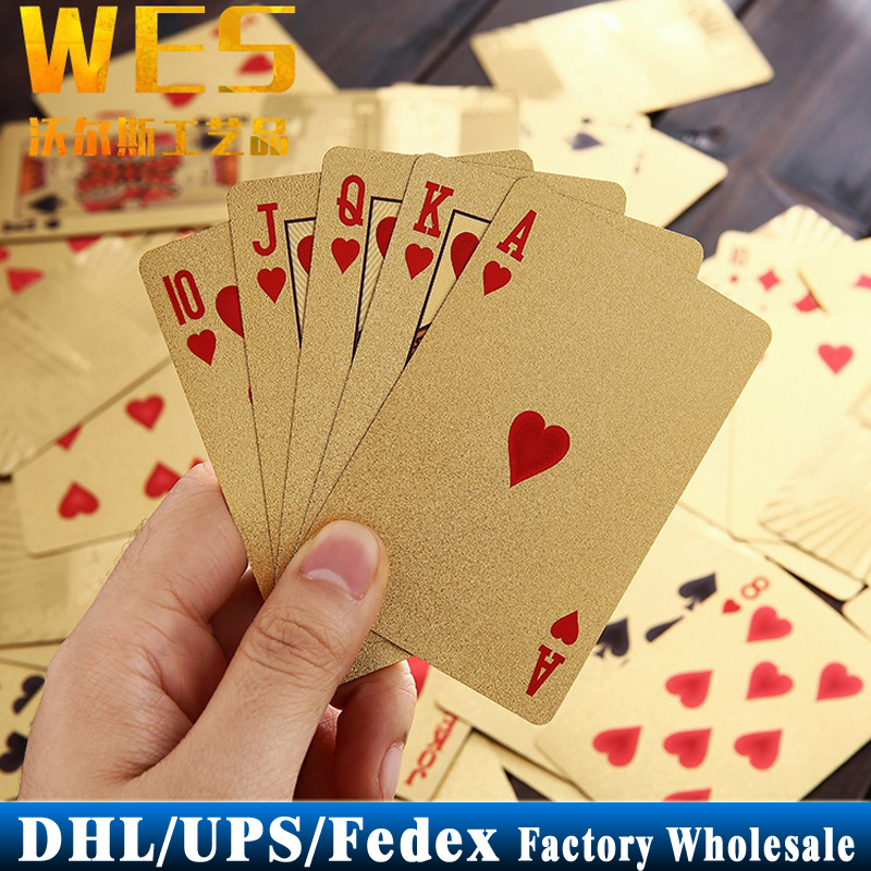 DHL Fedex UPS 100Sets 24K Gold Foil Poker Set Euro 100 Style Plastic Casino Playing Cards Pokerstars Card Game(China (Mainland))