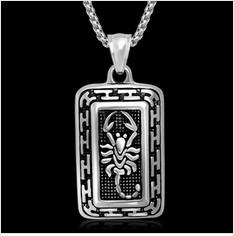 2013 316L titanium steel vintage scorpion pattern pendant necklace, fashion square rock necklace - Cici's Friends store