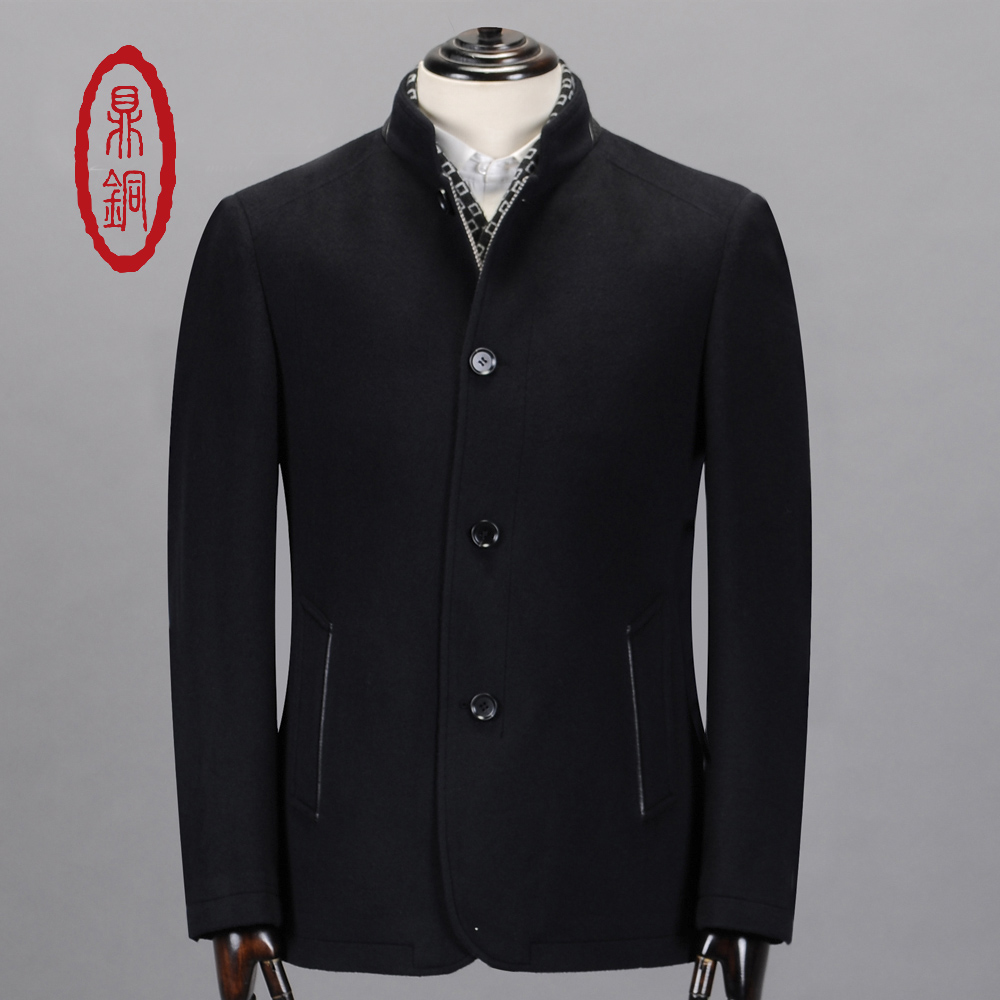 DING TONG Men's Spring Brand Pure Wool Overcoat Short Style Autumn Man Single Stand Collar Fashion Business Casual Car Coat(China (Mainland))