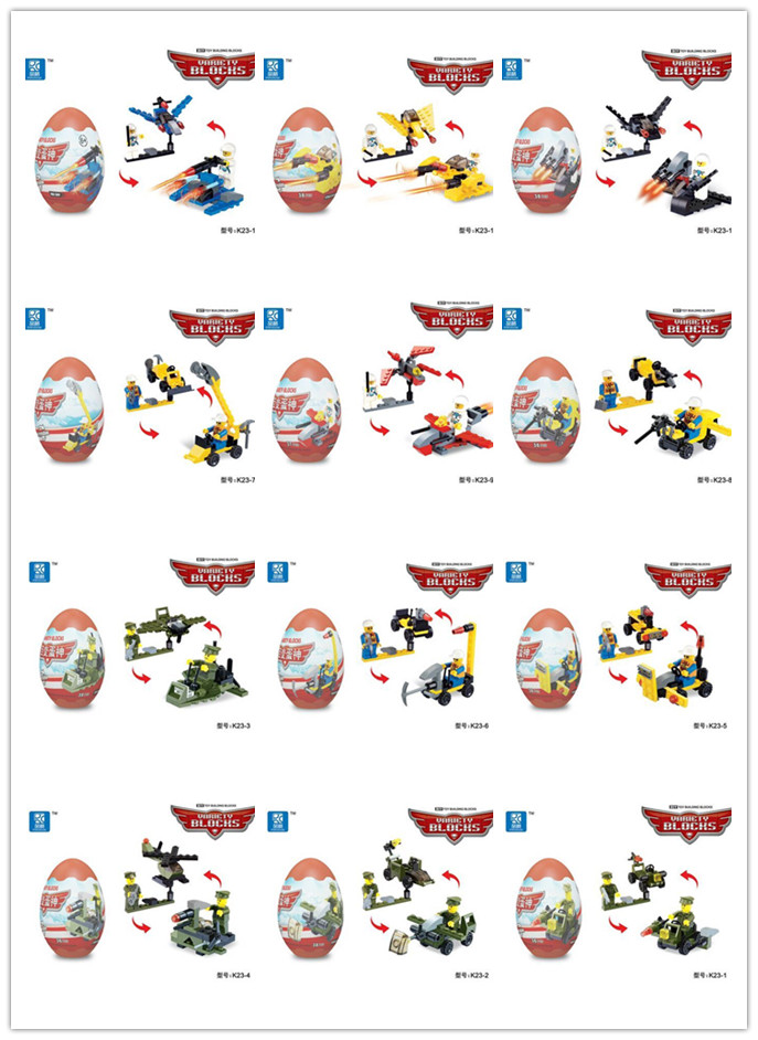 Building Blocks God Variety eggs, variable two different models, style eggs, spacecraft, automotive,Assembling toys(China (Mainland))