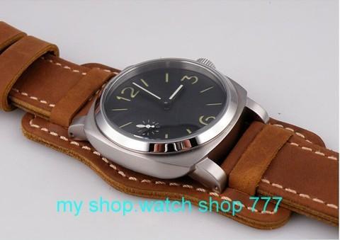 44 мм парнис нет логотип 316l сталь ST3600 механическая рука цепи движения мужские часы Высокого качества кожаный ремешок x00019