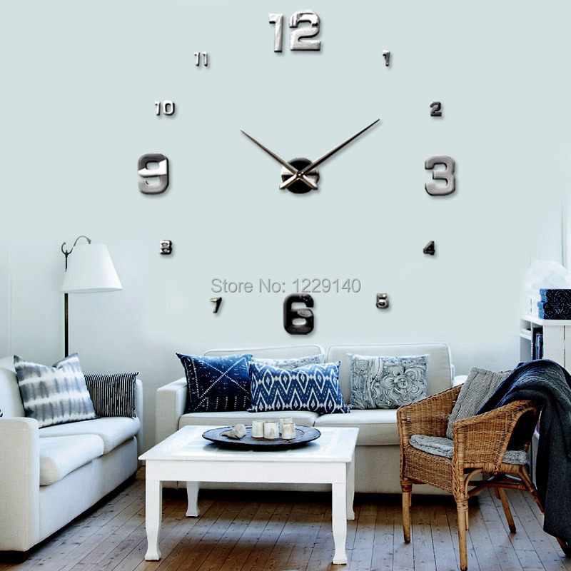Large Diy Wall Clock 3d Adhesive Mirror Acrylic Sticker