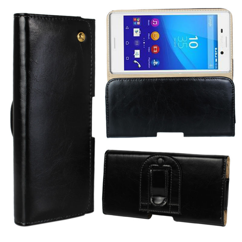 High quality crazy horse Flip Waist Belt pu Leather Phone Wallet Cover Carry Case For sony Xperia M4 Aqua(China (Mainland))