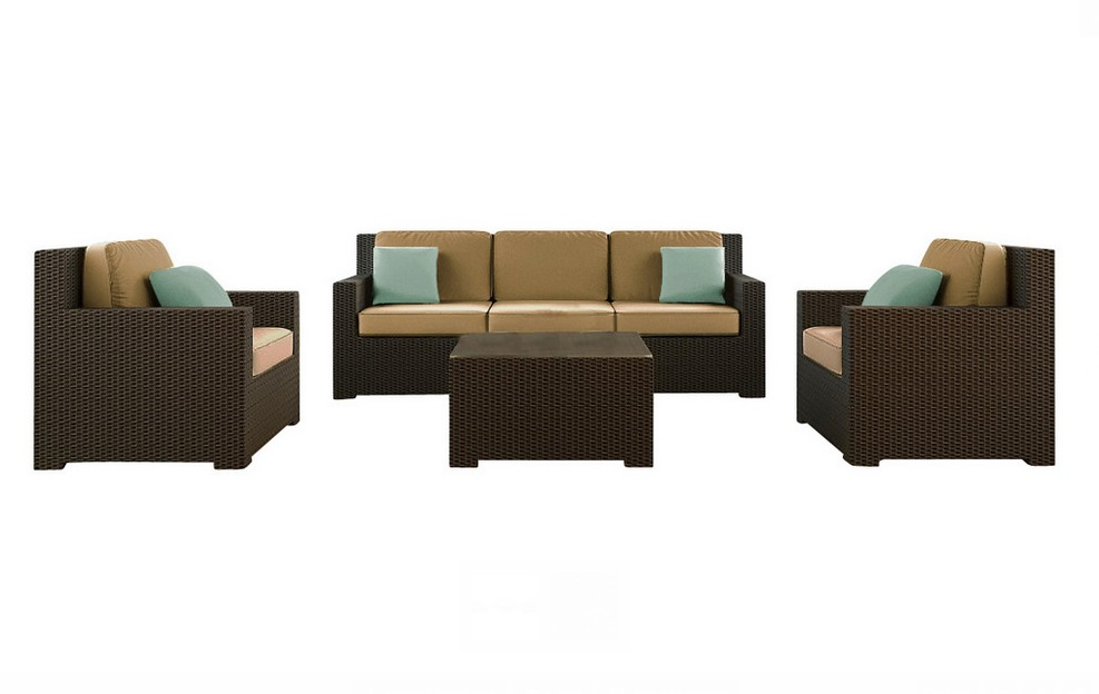2016 Outdoor Rattan Furniture Patio Garden 4pcs Wicker Sofa Set For Living Room Furniture(China (Mainland))