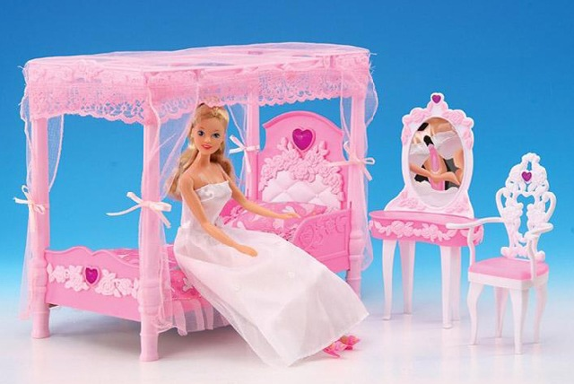 Luxury Dream House original case for barbie Princess furniture set accessory kit set dresser bed chair Girl Toys and Gifts
