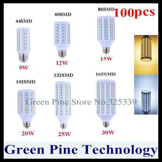 Free shipping 100 pcs E27 E14 B22 9W 12W 15W 20W 25W 30W SMD 5050 42 60 86 102 132 165 LED corn light bulb Maize lamp lighting(China (Mainland))
