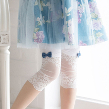 2016 Summer New  Baby Girl Pants Lace Bow Trousers Child Girl Carips Pant Candy Color Princess Style Toddler Kid Leggings