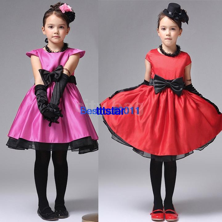 2014 New Summer Baby Girls Kids Bowknot Cotton Party Formal Princess Dress Children Clothes Rose Red/Red 1-5 years(China (Mainland))