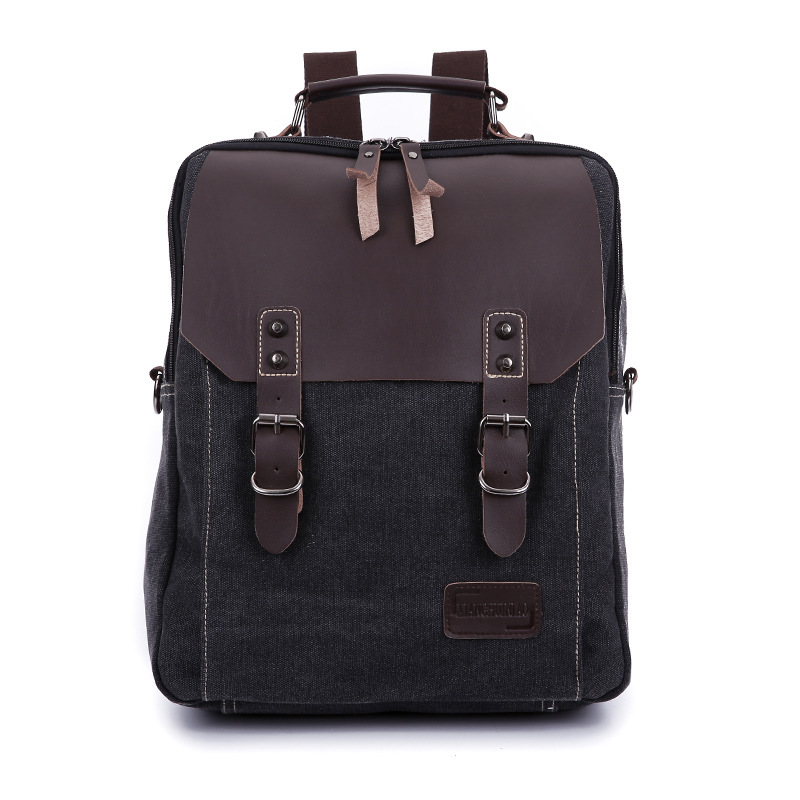 2016 Fashion Black 100% Genuine Leather & Washed Canvas Women Backpack Men Casual Laptop Bags sac dos