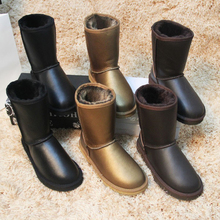 UVWP Fashion Waterproof Snow Boots Top Quality Genuine Sheepskin Leather Winter Boots 100% Natural Fur Warm Wool Women Boots(China (Mainland))