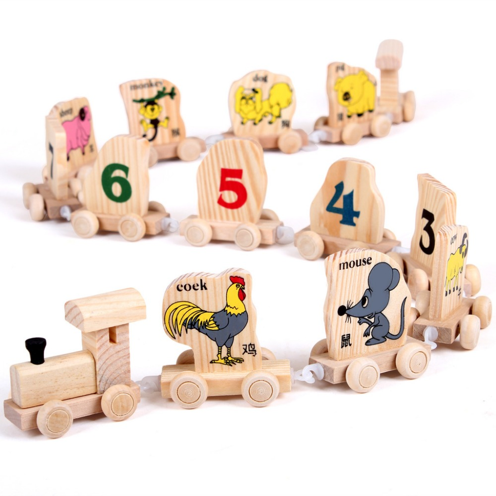 14PCS/SET Hot Sale Digital Number Animals Wooden Educational Toys Chinese Zodiac Train Building Block Toy WJ344(China (Mainland))