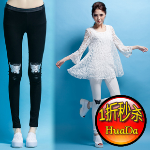 Lady sexy leather all-match gauze double layer legging