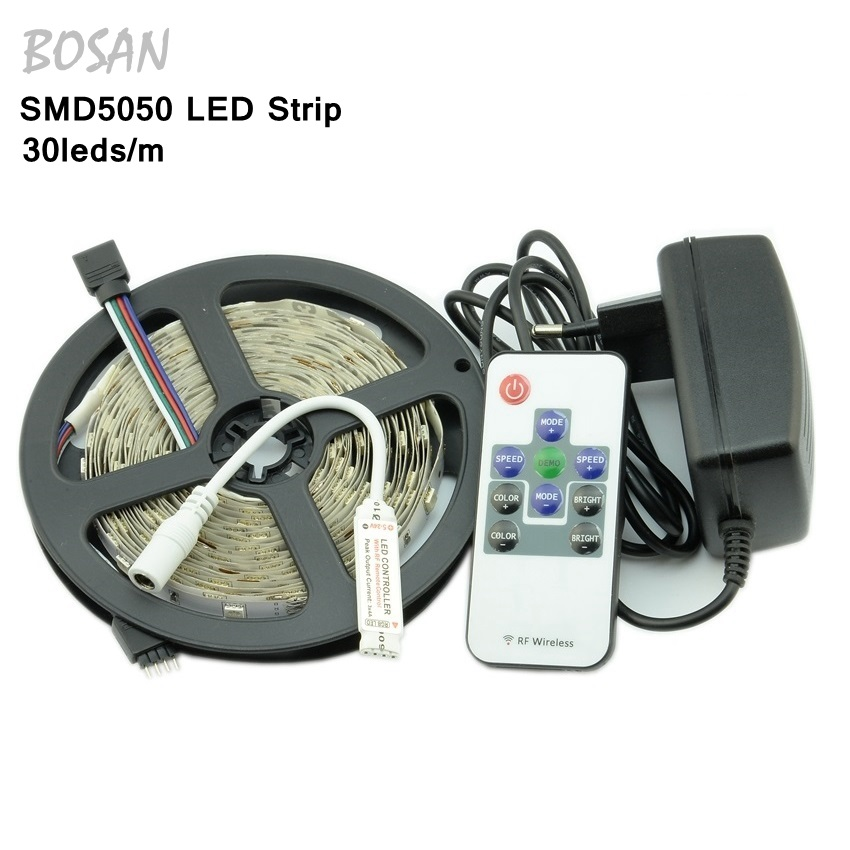 5M RGB LED Strip Light Flexible SMD 5050 and RF 9/11 44 Keys Remote Controller with 12V 3A Power Adapter Supply Driver set(China (Mainland))