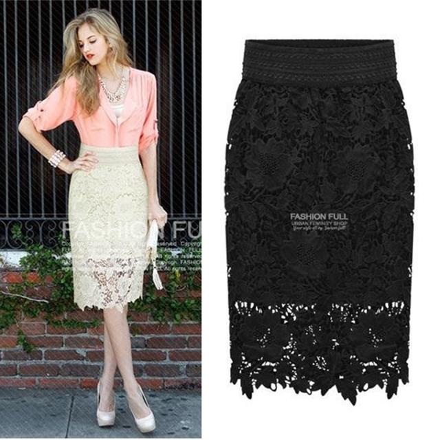 2016 Новая Коллекция Весна женская мода юбка пакет хип Тонкий был тонкий юбка женская ПР колен кружева вышивка midi юбка женщины saia