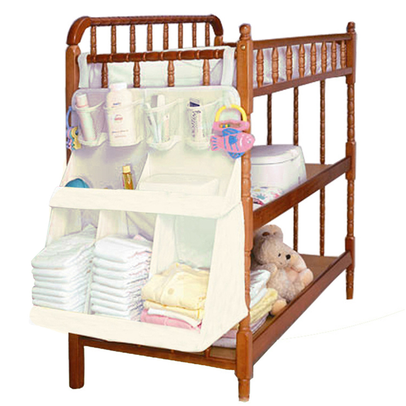 63*48*25cm Waterproof Diapers Organizer Baby Bed Hanging Bag Portable Storage Bedding Accessories(China (Mainland))