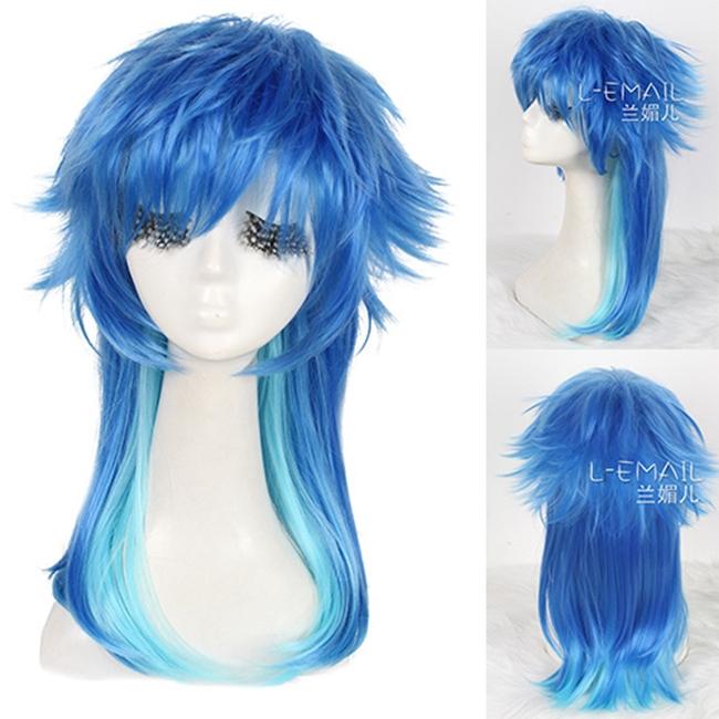 Гаджет  2013-2014 Free Shipping !  50cm long Blue Mixed Light Green layered wave cosplay wig ZY70 None Волосы и аксессуары