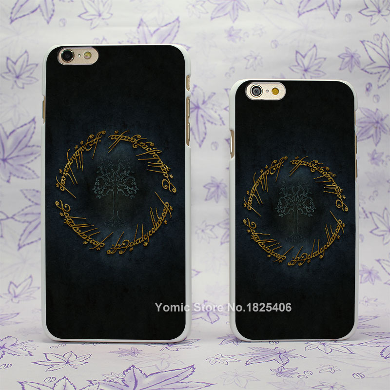 The Lord Of The Rings logo Design hard White Skin Case Cover for Apple iPhone 4 4s 4g 5 5s 5c 6 6s 6 Plus 6splus(China (Mainland))