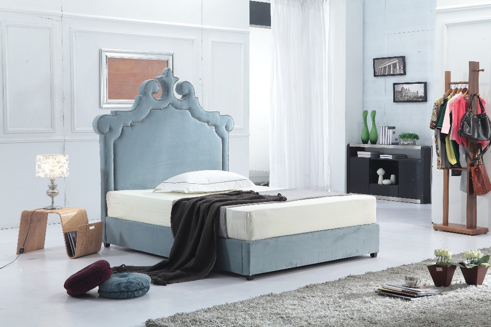 Upholstered soft fabric bed frame of Dubai prince peacock style for double bedroom furniture(China (Mainland))