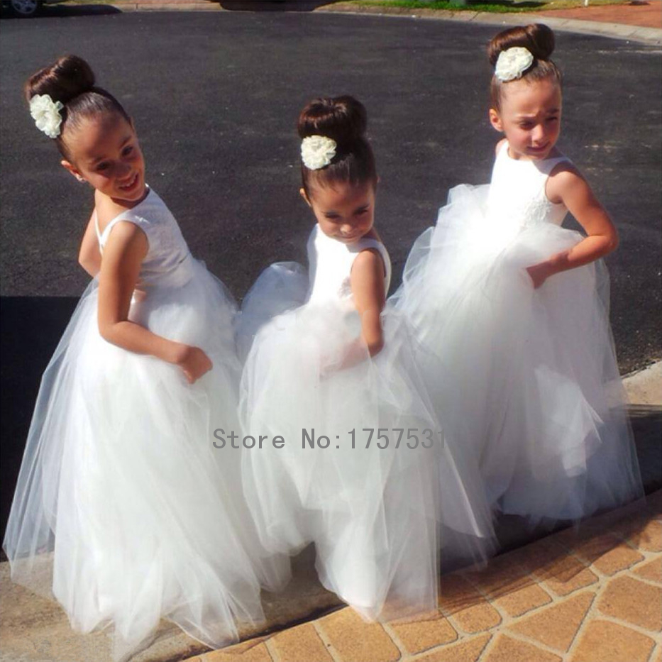 New arrival 2015 hand made white tulle tutu pretty flower for Cheap wedding dresses in az