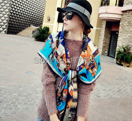100% Wool Feeling Fashion Cotton Fairytale Print 131x131cm Red\Black\Blue\Purple\ Yellow Women Scarves Kerchief TB1502A0002(China (Mainland))