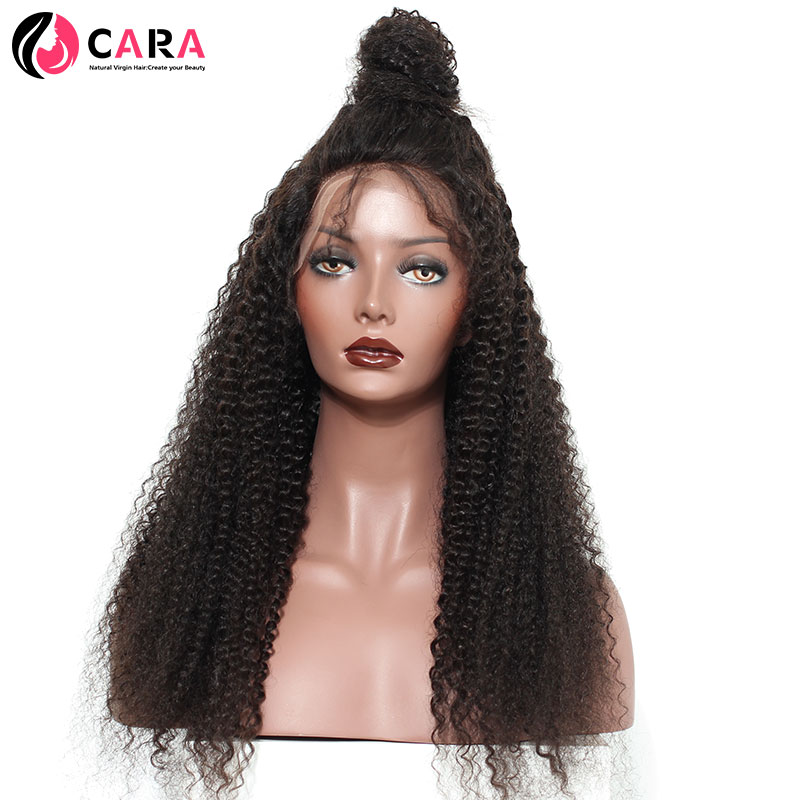 CARA Kinky Curly Full Front Human Hair Wigs Brazilian Hair Natural Color Pre Plucked Hairline Non-Remy Hair