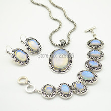 S1227-3 Necklace Earring Bracelet Jewelry Set  1 Set Opal Transparent Turquoise Stone  Vintage Look Tibet Antique Silver Plated
