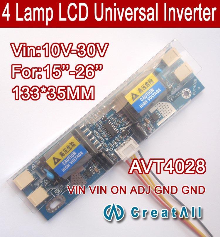 AVT4028 PC LCD MONITOR CCFL 4 LAMP universal lcd inverter board,4 Lamp 10V-30V 15-26 inch screen - LCDALL Co., LTD. store