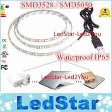 1Pcs SMD 3528 / 5050 DC 5V USB Power Supply Decor RGB LED Strip light lamp Tape 50CM 1M 2M Ribbon White / Warm White / RGB(China (Mainland))