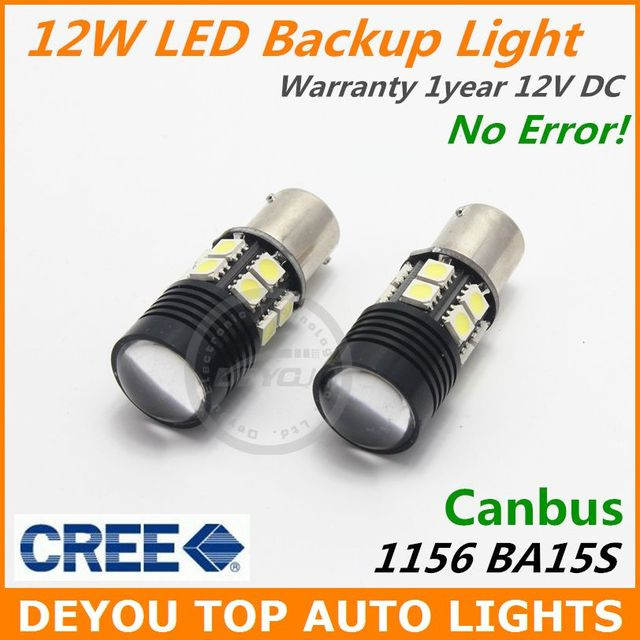 2pcs No Error Canbus CREE White LED Backup Reverse Light Bulb BA15S 1156 7506 P21W S25 1year warranty