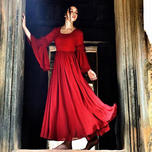 2017 Fashion Vintage Red Flare Sleeve Dresses Long Dresses Women Clothing Boho Ethnic Dress Vestido Longo AW281