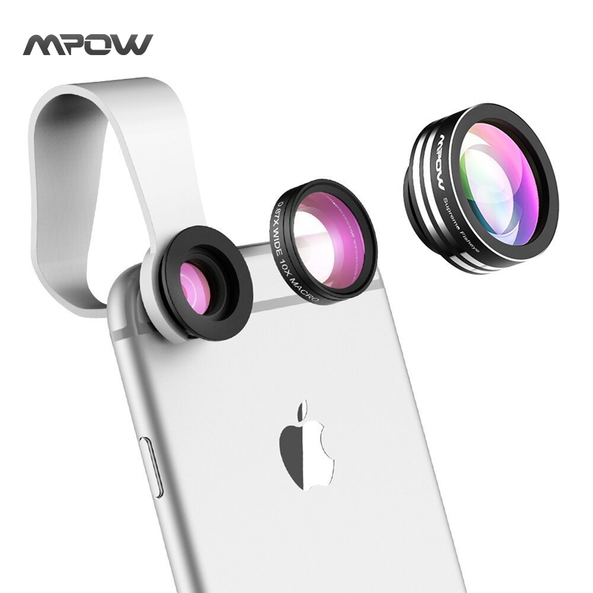 Mpow MFE1N 3 In 1 Clip-On 180 Degree Camera Phone Lens Fish Eye+ 10X Macro Lens+0.65X Wide Angle for iphone 6 Plus Samsung S6(China (Mainland))