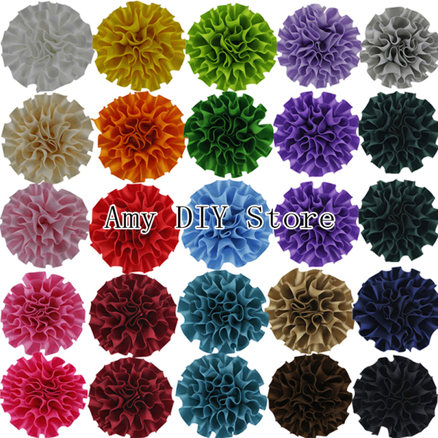 "Free Shipping 100pcs/lot DIY Beauty Multilayer Assorted Colours Decorative 2"" Polyester Flowers Baby Girls Hair Accessories"