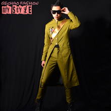 male coats long jacket green blue color Trench dancer singer dress performance show nightclub clothing  Outdoors Slim  wear show(China (Mainland))