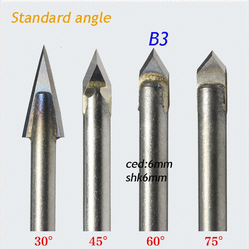 1pc standard 6*6mm 60 degree angle alloy Router Bits CNC engraving cutter Stone Carving Tools(China (Mainland))