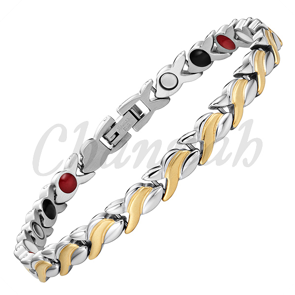 MBS111T: 2015 Women 4in1 Magnet Negative Ion Germanium Far Infra Red 2-Tone 18K Gold Bracelet Stainless Steel Free Shipping(China (Mainland))