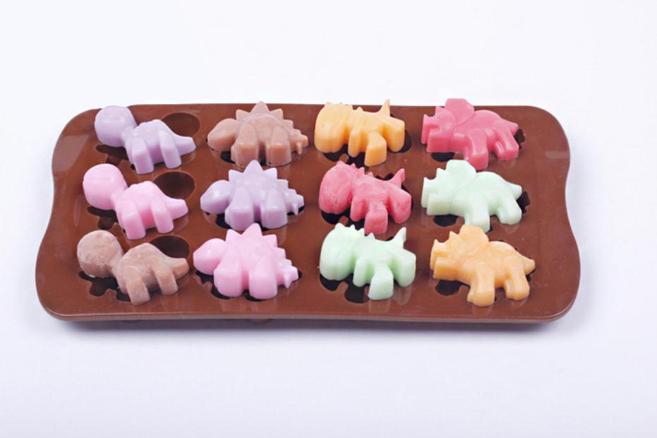 Silicone 12 Holes Animals Dinosaur Chocolate Jelly Cake Decorating Bakeware Mold Soap Kitchen Cooking Tools Dessert Mould - Bestmart store