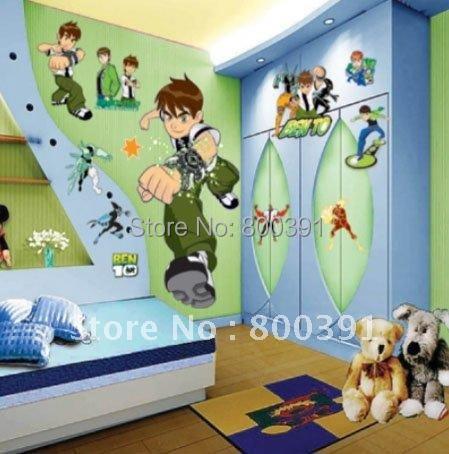Hot selling Ben 10 cartoon wall stickers Kids Rooms 50x70cm/sheet Nursery Mural Wall decals ,dropshipping - EMILYGU KIDS FASHION STORE store