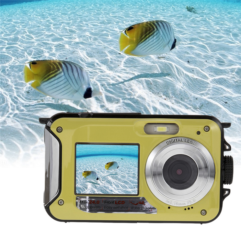24MP Double Screens Waterproof Digital Camera,2.7 inch +1.8 inch Screens HD 1080P CMOS 16x Zoom Camcorder mini Camera DVR(China (Mainland))