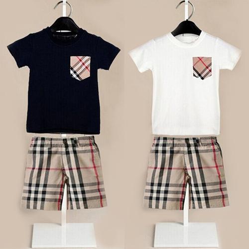 Retail boy clothes casual children suit summer style boy clothing set fashion kids clothes plaid tees