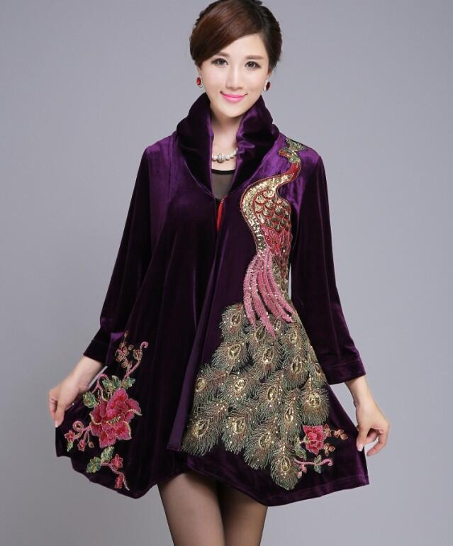 2016 Spring New Cloak Phoenix Peacock Embroidery Print Trench Coat for Woman Turtleneck Single Breasted Plus Size 4XL,5XL CoatОдежда и ак�е��уары<br><br><br>Aliexpress