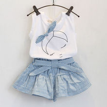 2PCS/3-7T/baby girls clothes set 2015 korean clothing fashion Bow white short-sleeved T-shirt+Culottes kids summer dress BC1152