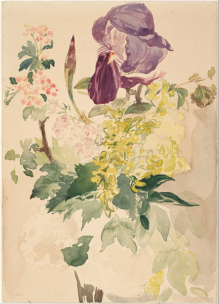 Canvas Art Prints Fabric Wall Decor Giclee Oil Painting Edouard Manet - Flower Piece With Iris Laburnum And Geranium 1880(China (Mainland))