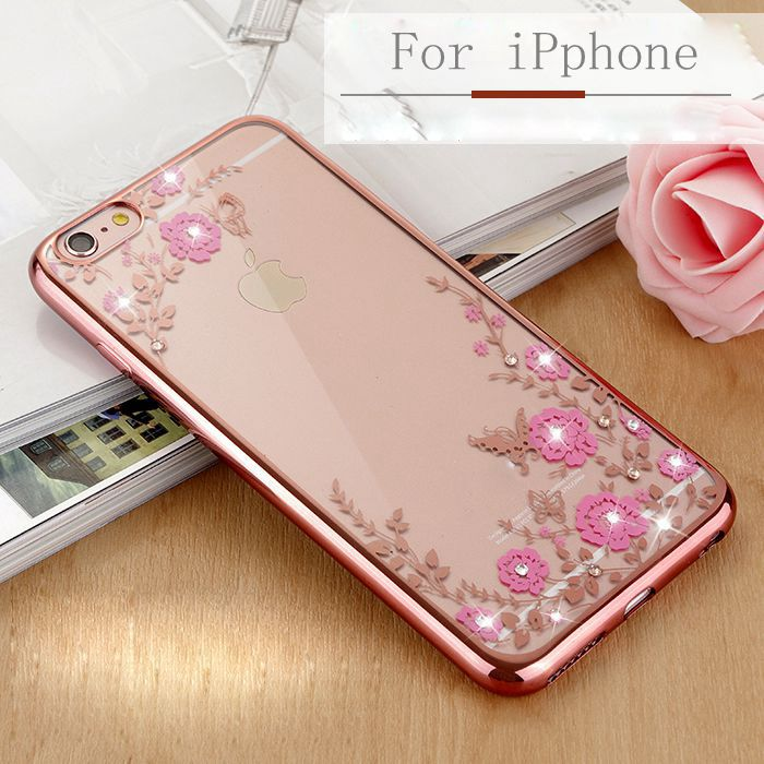 For iPhone 6 Plus Fashion Flower Electroplate Diamante Phone Case For iPhone 6S Plus 5.5Inch Case Soft Silicon Back Cover(China (Mainland))