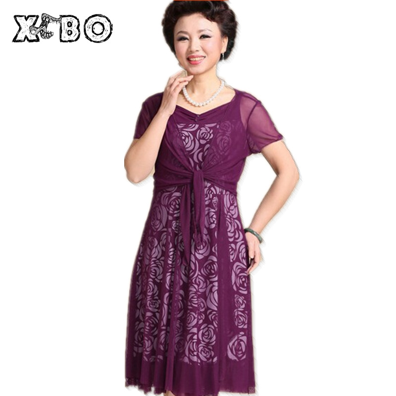 2017 Summer Autumn Women Elegant Print Fashion Dress Plus Size 5xl Casual Slim V-neck Floral Large Midi Dresses Long - Shop111184 Store store