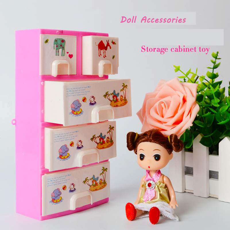 Doll Furniture Pink Closet Wardrobe Storage Cabinet Princess Bedroom Doll Accessories Dollhouse Bedroom Furniture For Barbi Girl(China (Mainland))