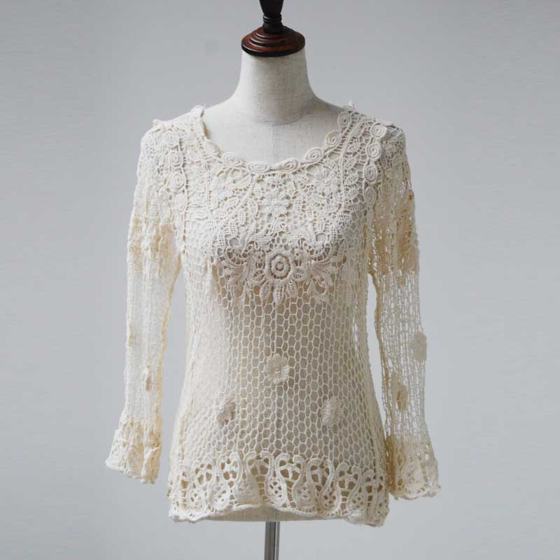 Vintage Women's Clothing 2016 New Lace Tops Chic Floral Lace Splice Hollow Out Casual Long Sleeve Blusa Blouses Beige(China (Mainland))