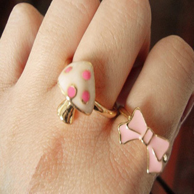 Europe and the United States sell like hot cakes bowknot mushroom two-piece combination ring ring
