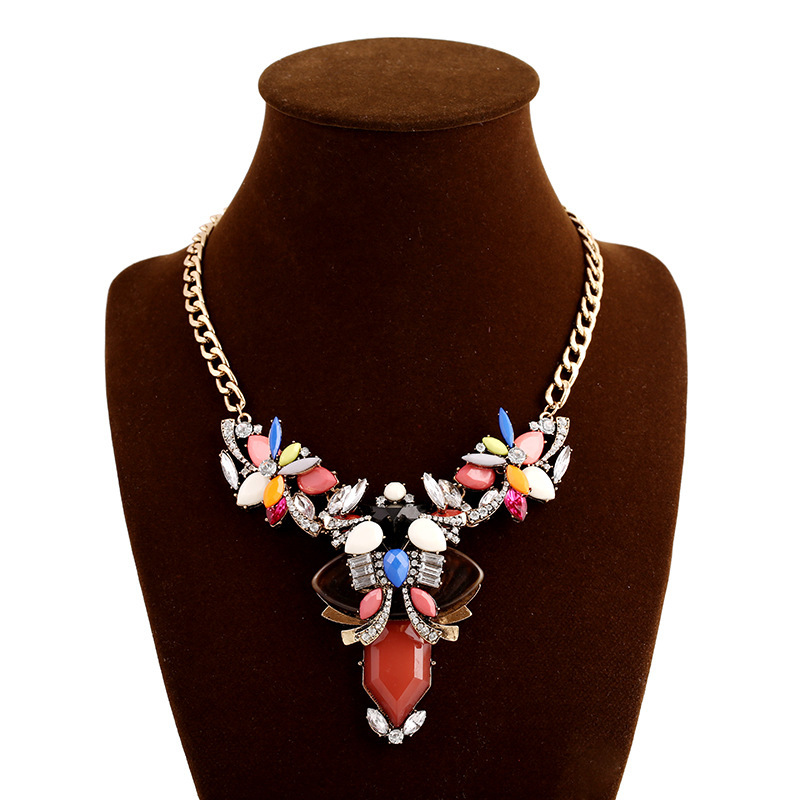 2015 fashion necklace collar evening dress multi gem for Costume jewelry for evening gowns