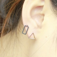 7 Style Punk Square Triangle pendientes Round Lightning Stud Earrings For Women Gold Silver Black ear Fashion Jewelry