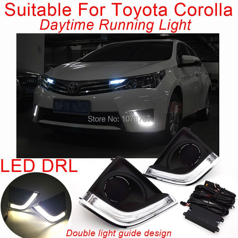 Double Light Guide Design LED DRL Daytime Running Light Suitable For Toyota Corolla 2014,Car Fog Lamp Cover With LED DRL<br><br>Aliexpress